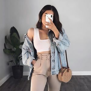 White Ribbed Square Crop Top
